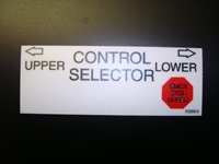 Versalift Control Selector Decal