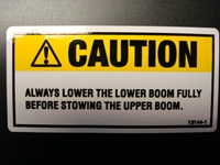 Caution Lowering Boom Decal