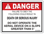 Danger Slope 5 Degree Decal  D-33656-1, 33656, D33656-1, sticker, stickers, degree, degrees, ansi, inspection, ANSI